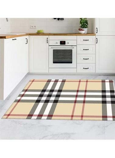 MarkaEv Bej Ekose Kitchen 91 Mutfak Halısı 133*190cm Bej